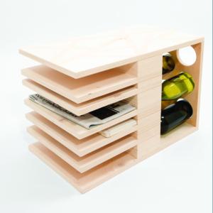 studio hamerhaai wijnrek salontafel tijdschriftrek hout verpakking gerecycled upcycling
